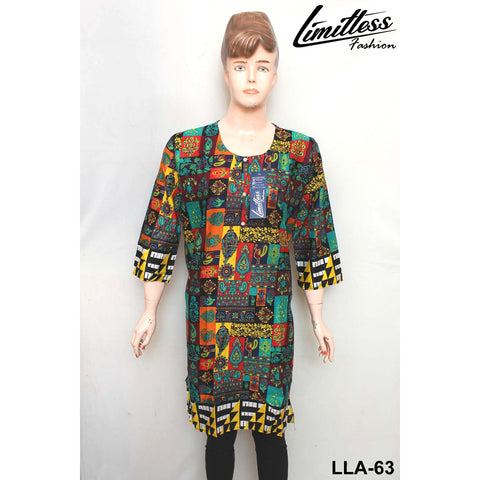 Limitless Fashion Printed Cotton Lawn Stitched Kurti for Girls & Women in Large - LLA-63