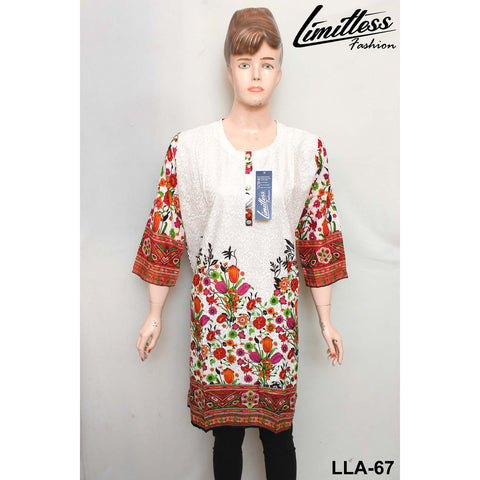 Limitless Fashion Printed Cotton Lawn Stitched Kurti for Girls & Women in Large - LLA-67