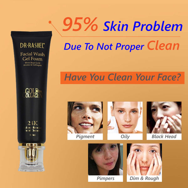 Dr.Rashel Facial wash Gel Foam with Real Gold Atoms & Collagen