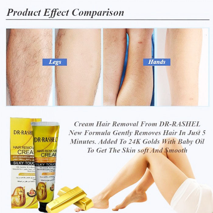 Dr Rashel Hair Removal Cream 24k Gold With Baby Oil For Silky Touch