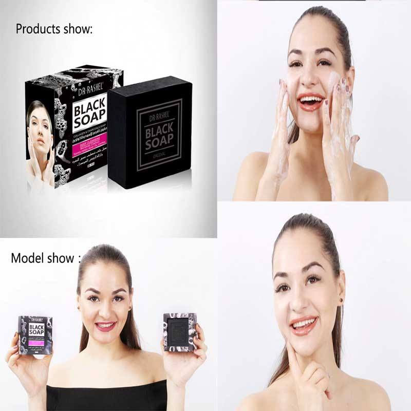 Dr.Rashel Collagen Charcoal Black Soap Deep Cleansing Facial Soap Tighten Pores, Acne & Oil Control - 100g