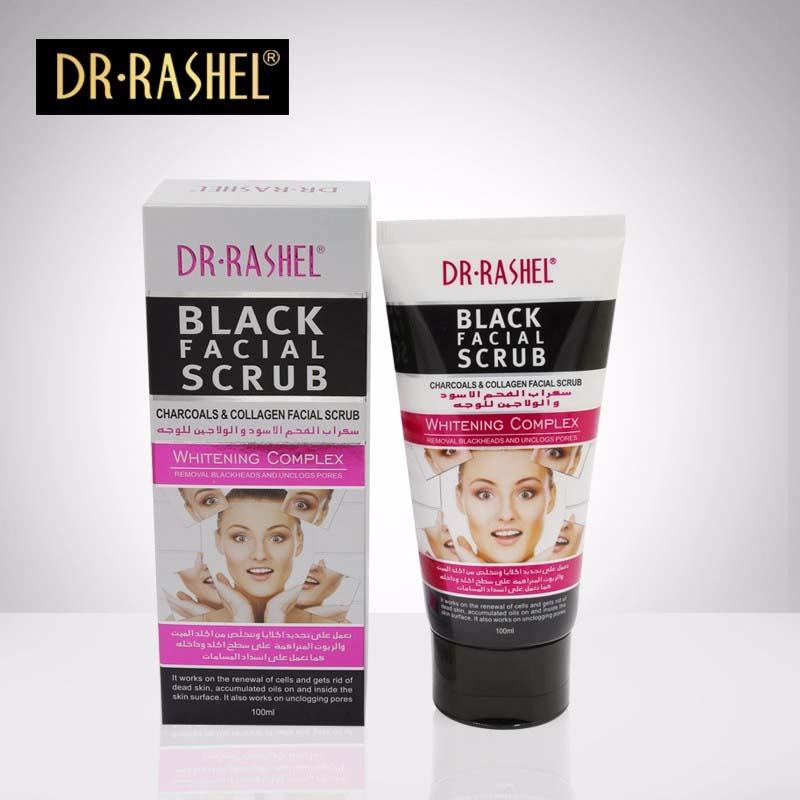 Dr.Rashel Charcoals & Collagen Black Facial Scrub for Whitening Complex - 100ml - Limitlesswow