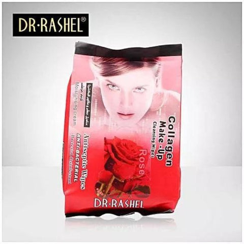 Dr.Rashel Collagen Make up Cleansing, Antiseptic & Anti Bacterial Wipes with Rose Extract