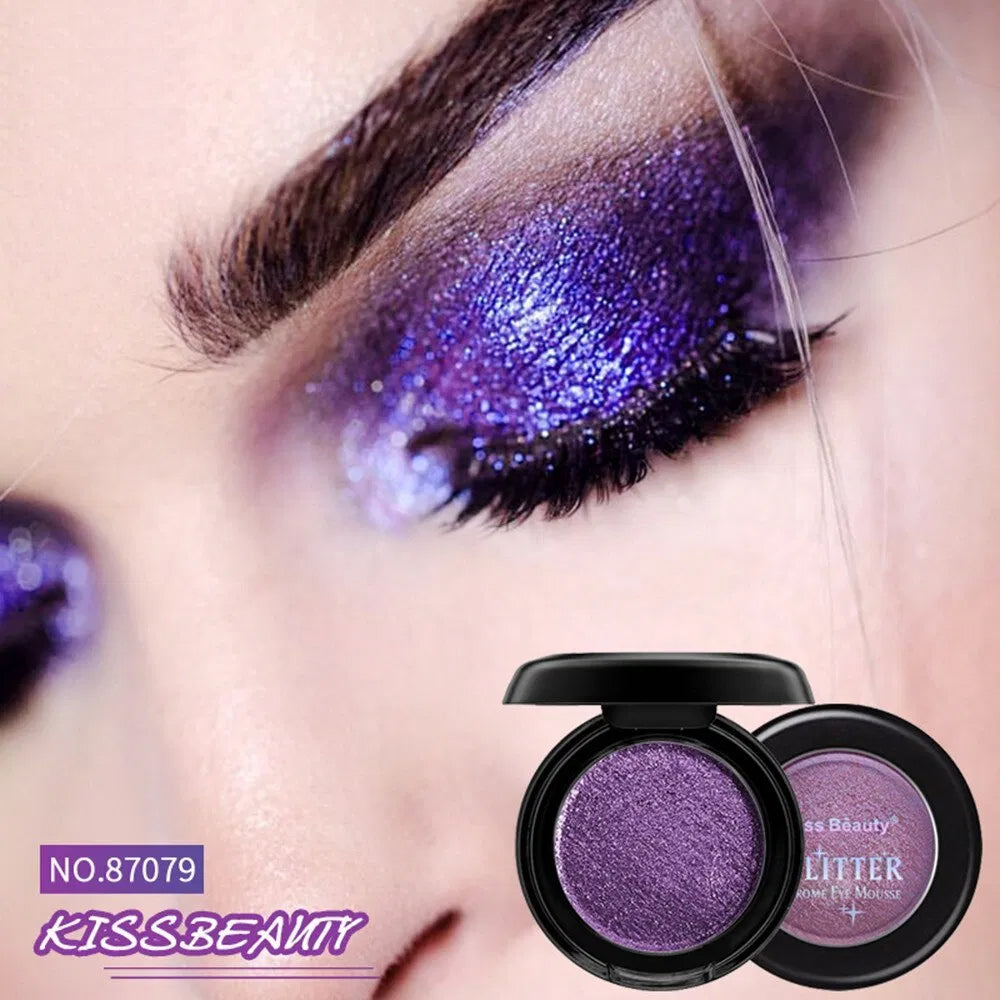 Kiss Beauty High Pigments Nude Eyeshadow Chrome Eye Mousse Shimmer Shiny Single Color Waterproof Party Glitter Eye Shadow