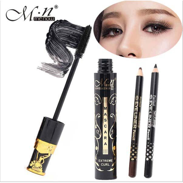 Menow Extreme Curl Waterproof Mascara + Black & Brown Eye Liner Pencil Make Up Set - Pack of 3