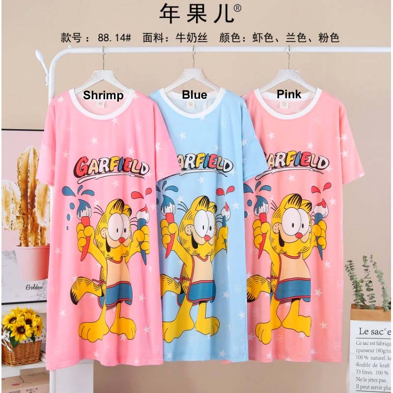 Garfield 1 Piece Nightwear Long T-Shirt for Girls & Women