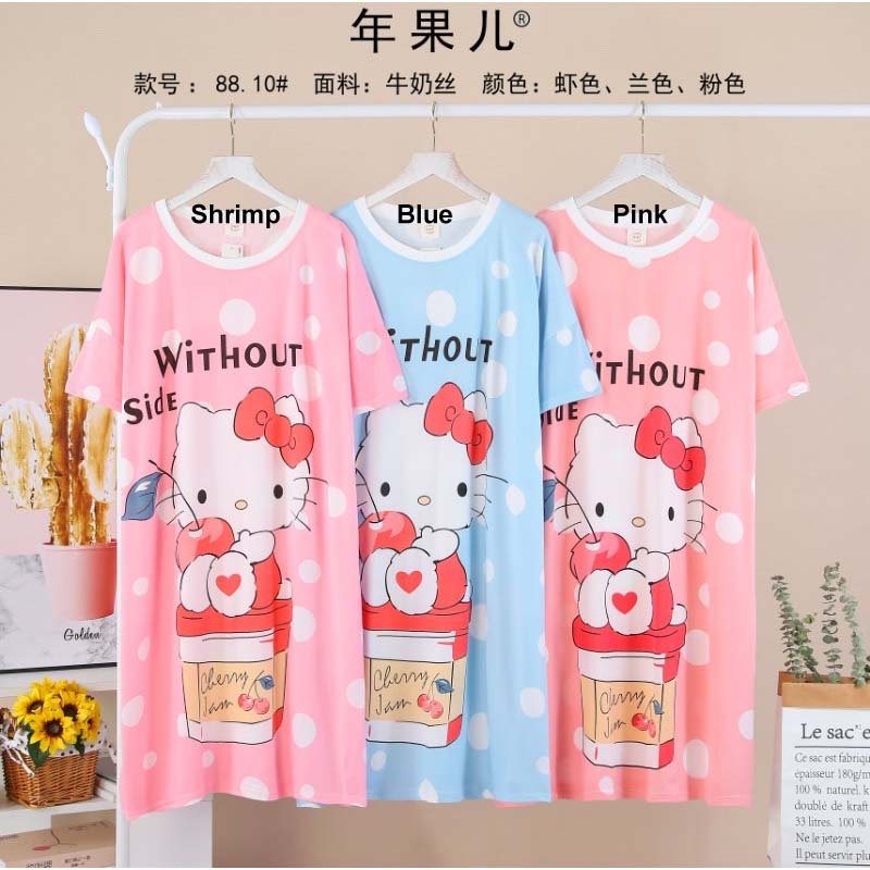 Hello Kitty Cherry Jam Long T-Shirt Nightwear & Relax wear for Girls & Women