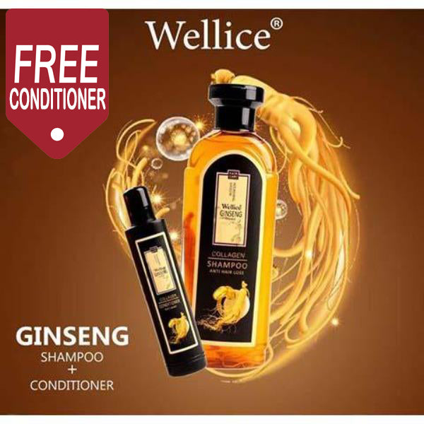 Wellice Ginseng & Collagen Anti-Hair Loss Set consists of Shampoo 420 ml and Hair Conditioner 100 ml - Pack of 2