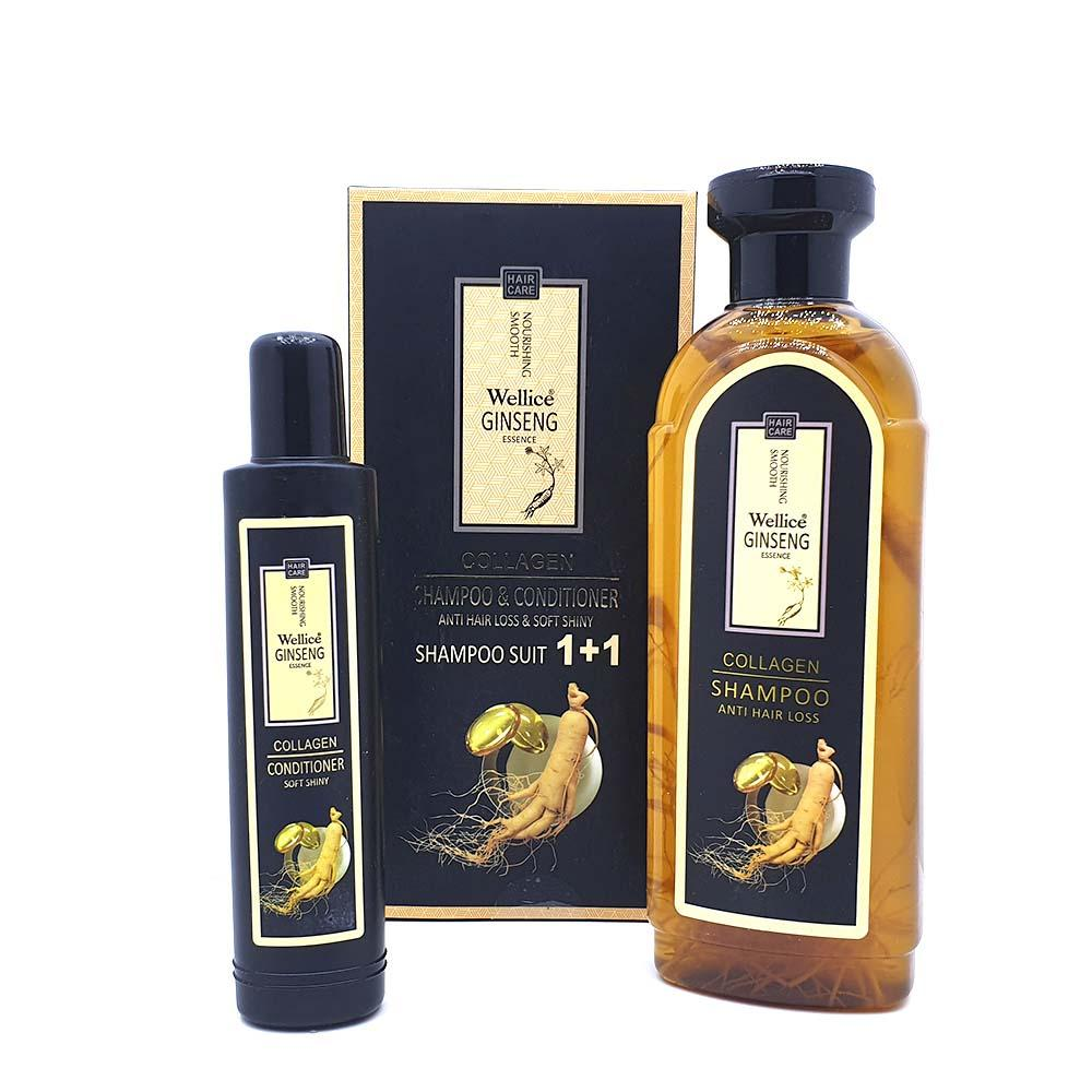 Wellice Ginseng & Collagen Anti-Hair Loss Set consists of Shampoo 420 ml and Hair Conditioner 100 ml - Pack of 2 - Limitlesswow
