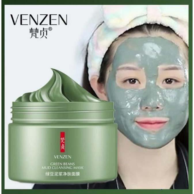 Venzen Green Beans Mud Cleansing Mask Oil Control Gentle Shrink Pore Hydrating Mask - 120gms