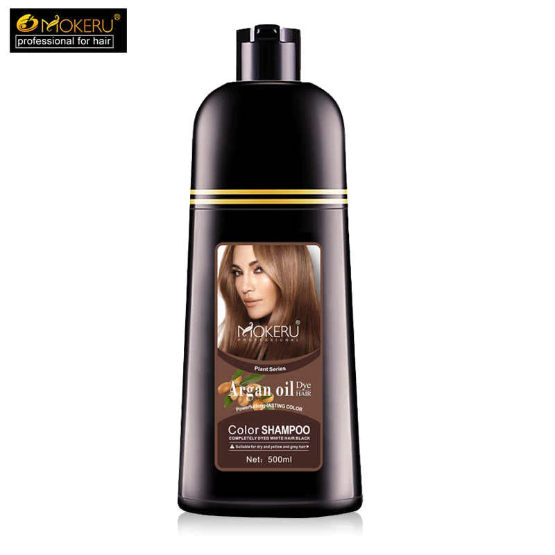 Mokeru Natural No Harm to Skin Organic Oil Essence Permanent Hair Color Shampoo - 500ml