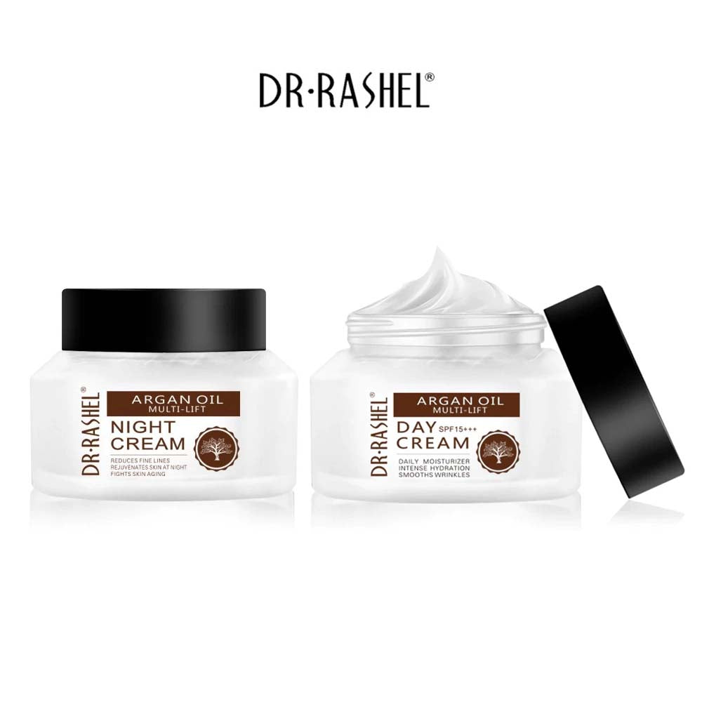 Dr.Rashel Argan Oil Multi Lift Day Cream SPF 15+++ Daily Moisturizer + Argan Oil Multi Lift Night Cream Reduces Fine Lines - Pack of 2