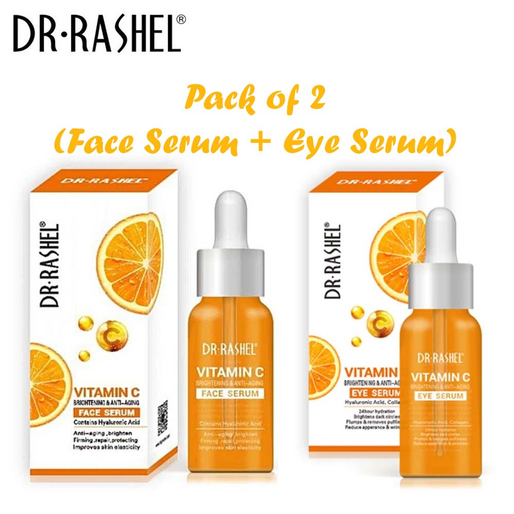 Dr.Rashel Vitamin C Brightening & Anti Aging Face Serum + Eye Serum - Pack of 2