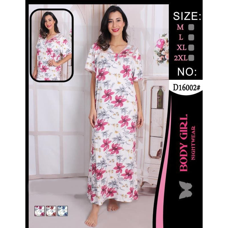 Body Girl Full Long Floral Nightwear for Women