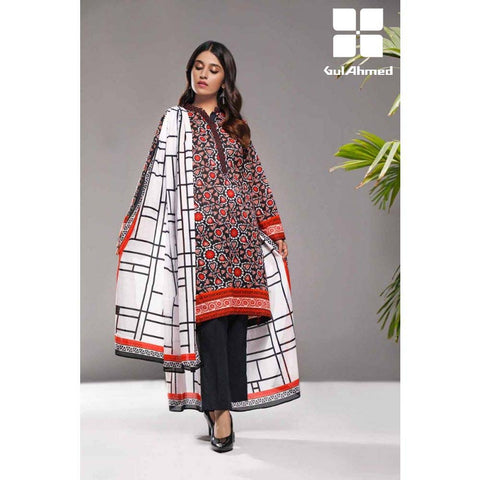 Gul Ahmed 3 Pieces Printed Lawn suit with Lawn Digital Printed Duppatta CL-863