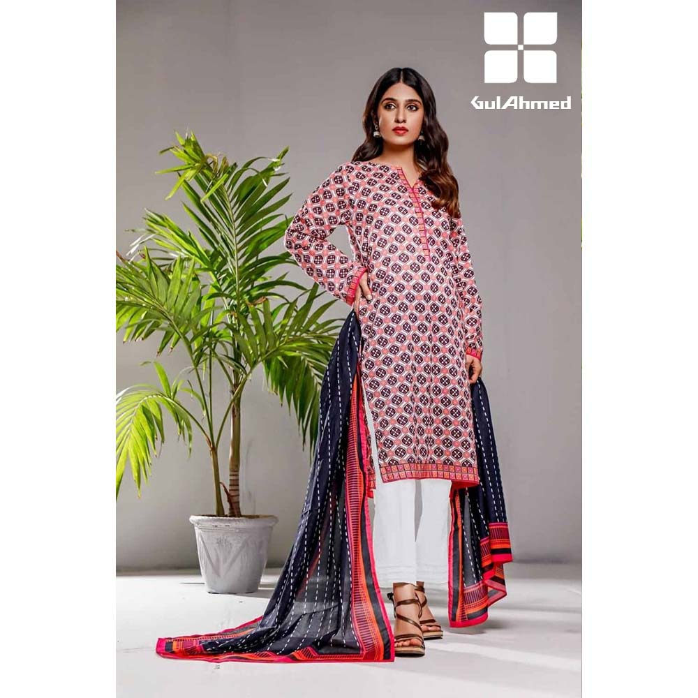 Gul Ahmed 3 Pieces Printed Lawn suit with Lawn Digital Printed Duppatta CL-864