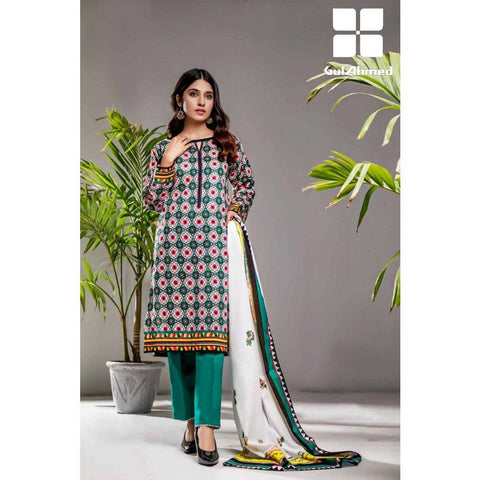 Gul Ahmed 3 Pieces Printed Lawn suit with Lawn Digital Printed Duppatta CL-867