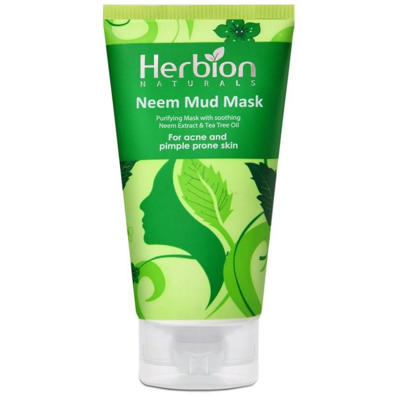 Herbion Naturals Neem Mud Mask for Acne and Pimple Prone Skin - 100ml - Limitlesswow