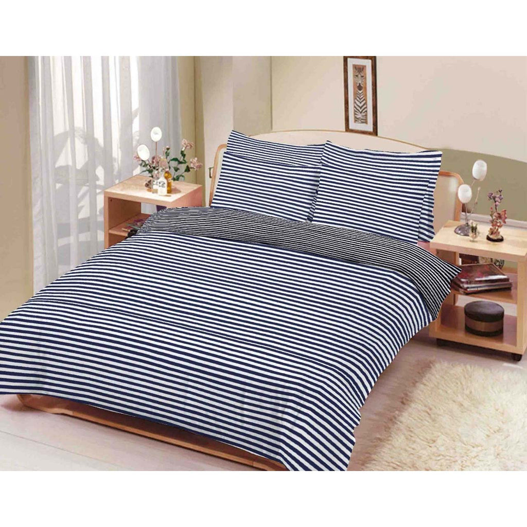 Printed Stripe Bed Sheet 100% Cotton Sateen in King Size with 2 Printed Pillows
