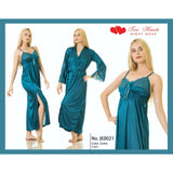 Two Hearts 2 Pieces Silk Nightwear & Lingerie with Long Gown for Women & Girls