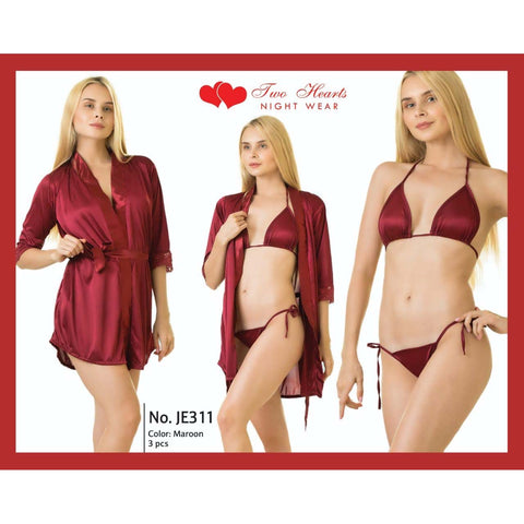 Two Hearts 3 Pieces Silk Nightwear & Lingerie with Short Gown for Women & Girls