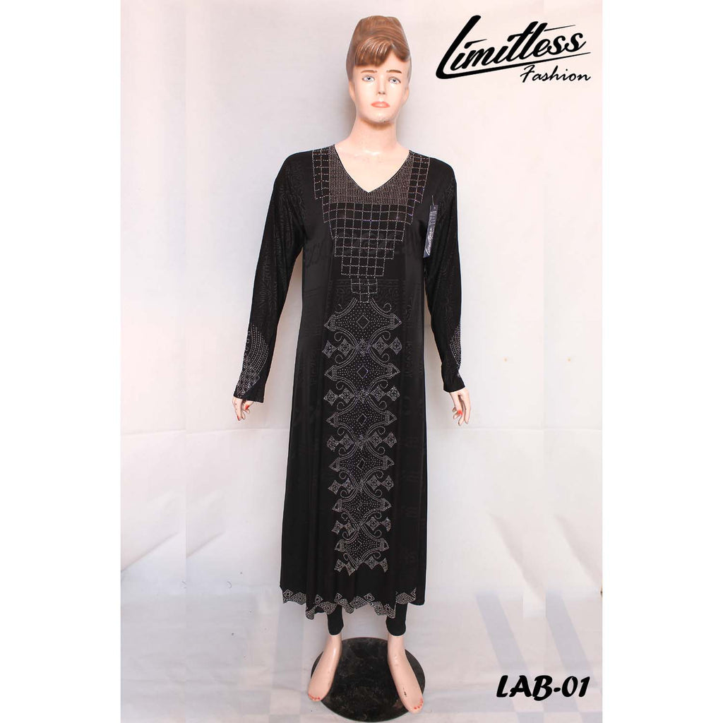 New Stylish & Latest Self Printed Abaya with Stone Work in Jersey for Girls & Women - LAB-01