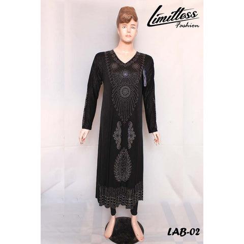 New Stylish & Latest Self Printed Abaya with Stone Work in Jersey for Girls & Women - LAB-02