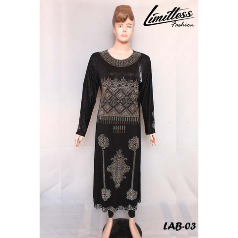 New Stylish & Latest Self Printed Abaya with Stone Work in Jersey for Girls & Women - LAB-03