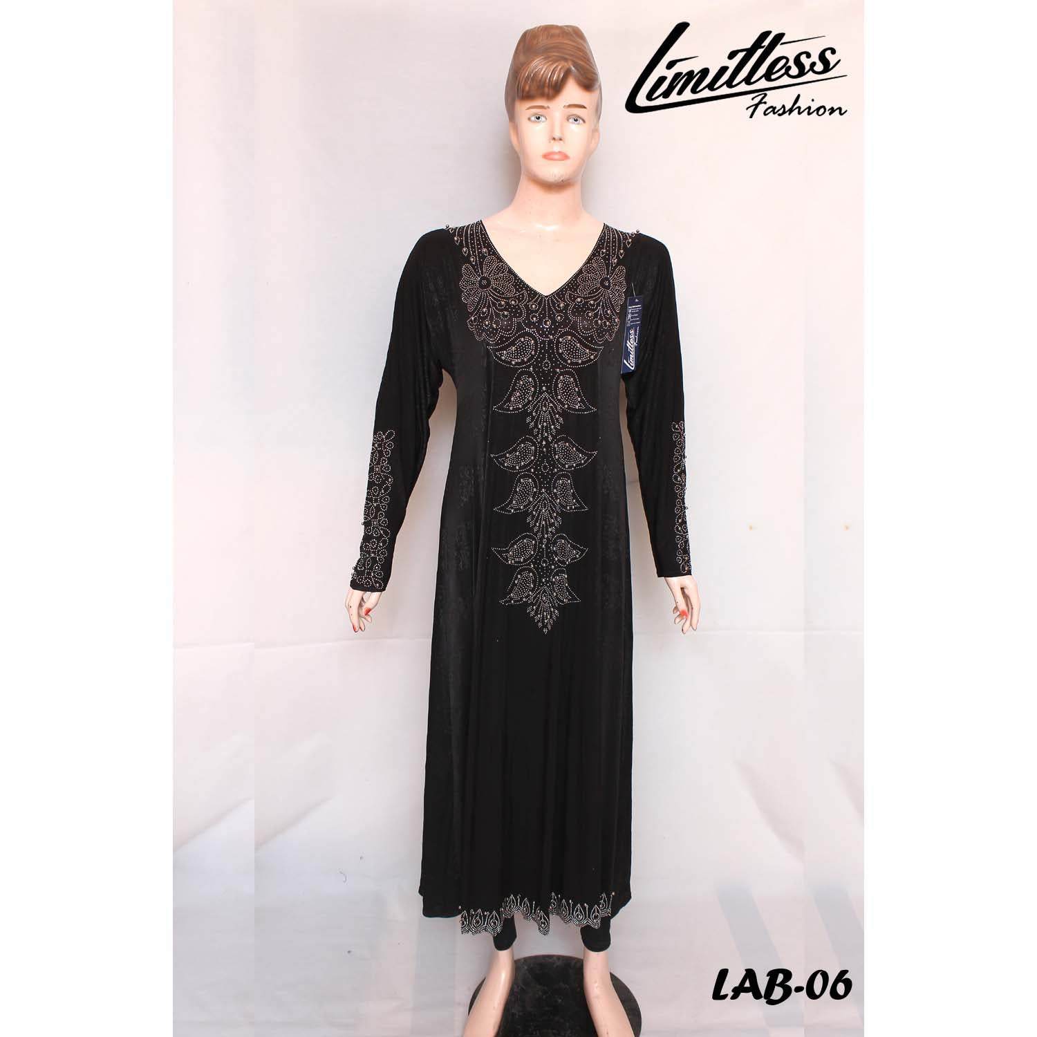 New Stylish & Latest Self Printed Abaya with Stone Work in Jersey for Girls & Women - LAB-06