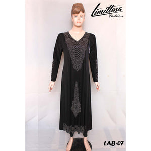 New Stylish & Latest Self Printed Abaya with Stone Work in Jersey for Girls & Women - LAB-07