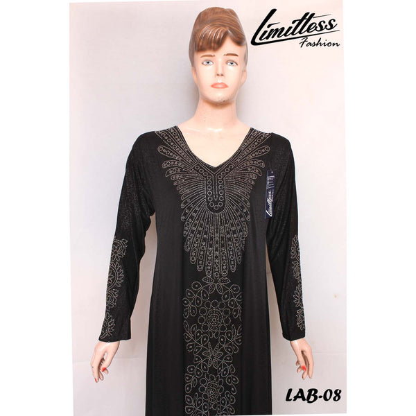 New Stylish & Latest Self Printed Abaya with Stone Work in Jersey for Girls & Women - LAB-08