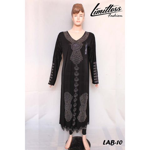 New Stylish & Latest Self Printed Abaya with Stone Work in Jersey for Girls & Women - LAB-10