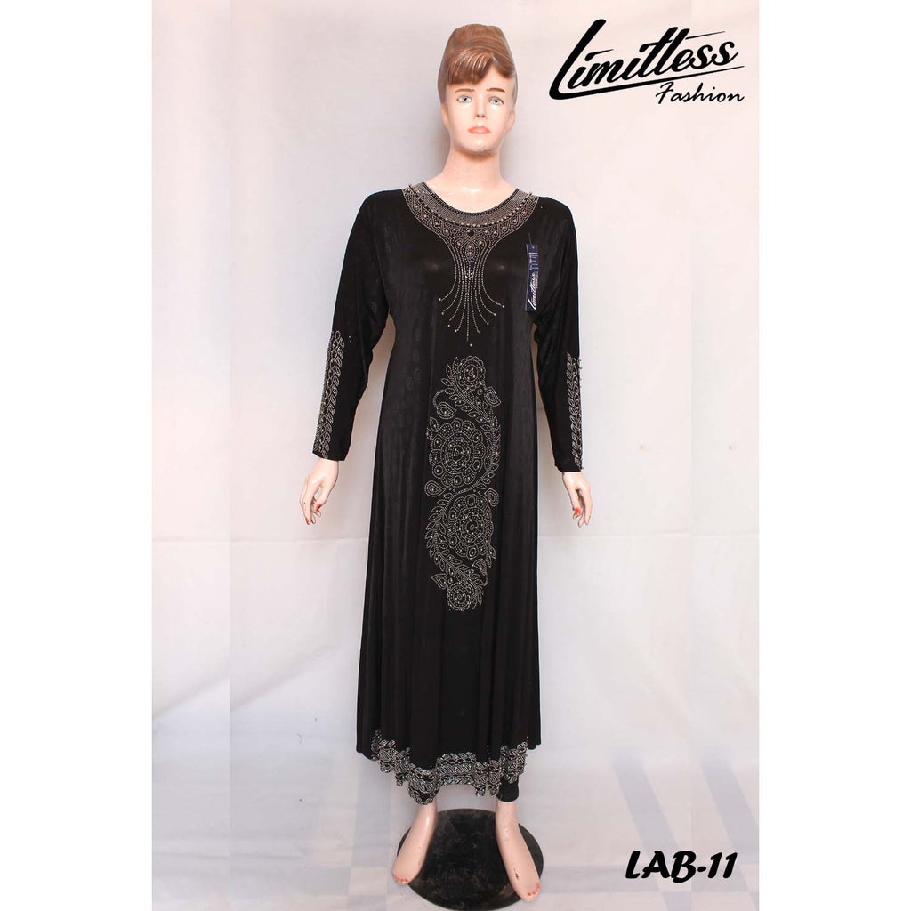 New Stylish & Latest Self Printed Abaya with Stone Work in Jersey for Girls & Women - LAB-11