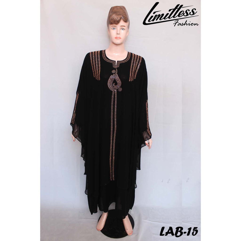 New Stylish & Latest Double Layer Abaya with Stone Work in Nida Fabric for Girls & Women