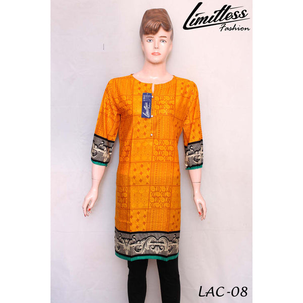 New & Latest Printed Cotton Lawn Stitched Kurti for Women in Medium - LAC-08