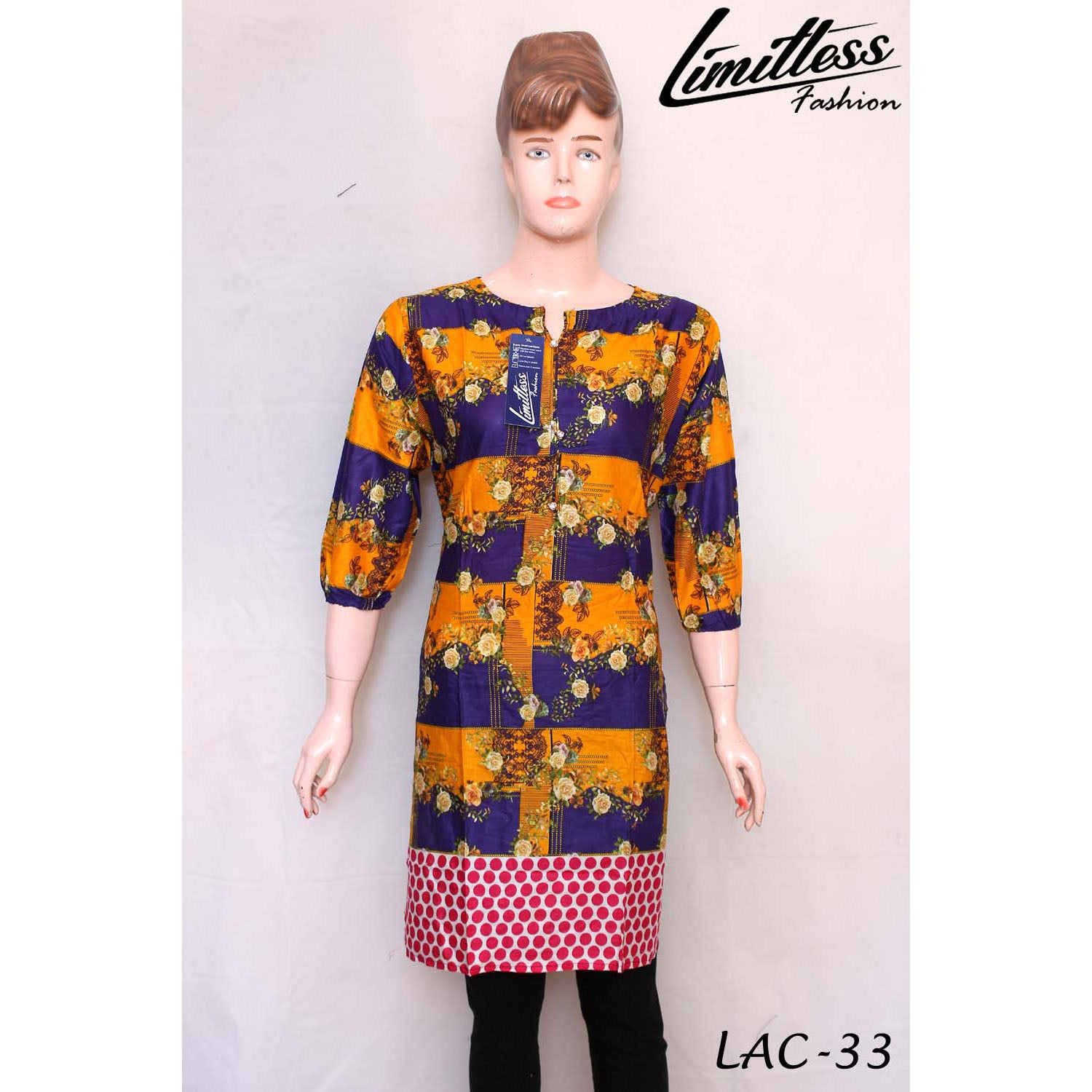New & Latest Printed Cotton Lawn Stitched Kurti for Women in Medium - LAC-33