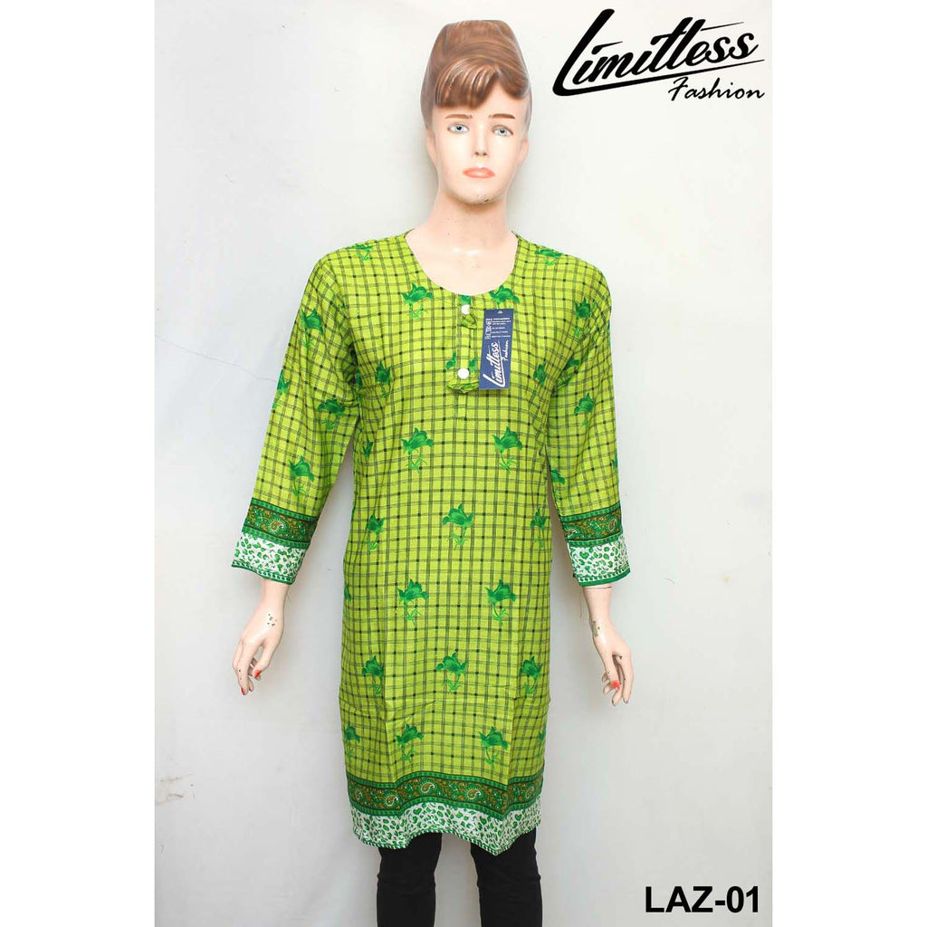 14 August Printed Cotton Lawn Stitched Kurti for Girls & Women in Medium - LAZ-01 - Limitlesswow