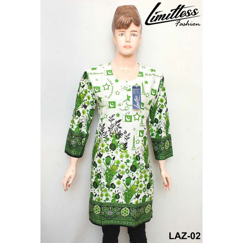 14 August Printed Cotton Lawn Stitched Kurti for Girls & Women in Medium - LAZ-02