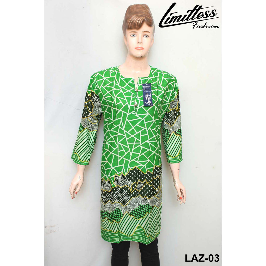 14 August Printed Cotton Lawn Stitched Kurti for Girls & Women in Medium - LAZ-03 - Limitlesswow