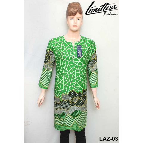 14 August Printed Cotton Lawn Stitched Kurti for Girls & Women in Medium - LAZ-03