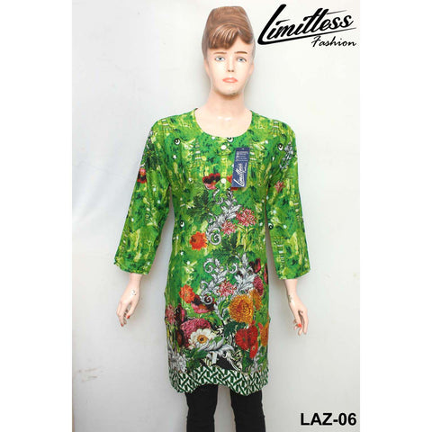 14 August Printed Cotton Lawn Stitched Kurti for Girls & Women in Medium - LAZ-06