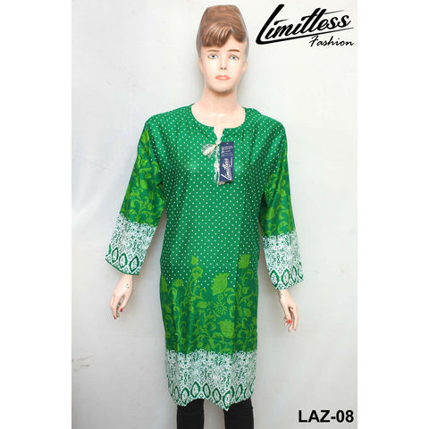 14 August Printed Cotton Lawn Stitched Kurti for Girls & Women in Medium - LAZ-08
