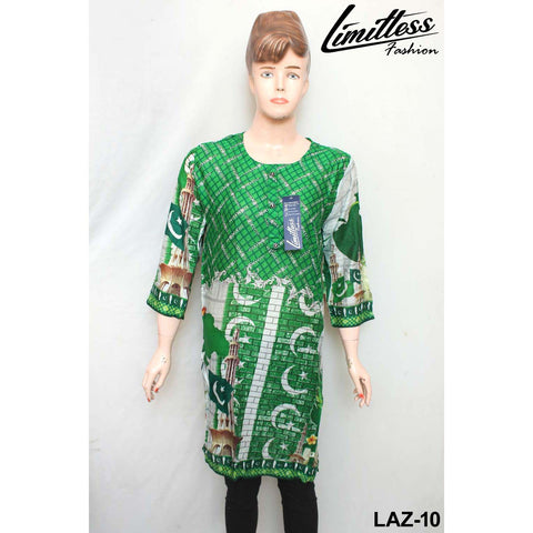 14 August Printed Cotton Lawn Stitched Kurti for Girls & Women in Medium - LAZ-10