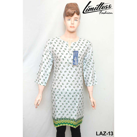 14 August Printed Cotton Lawn Stitched Kurti for Girls & Women in Medium - LAZ-13