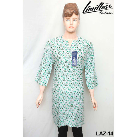 14 August Printed Cotton Lawn Stitched Kurti for Girls & Women in Medium - LAZ-14