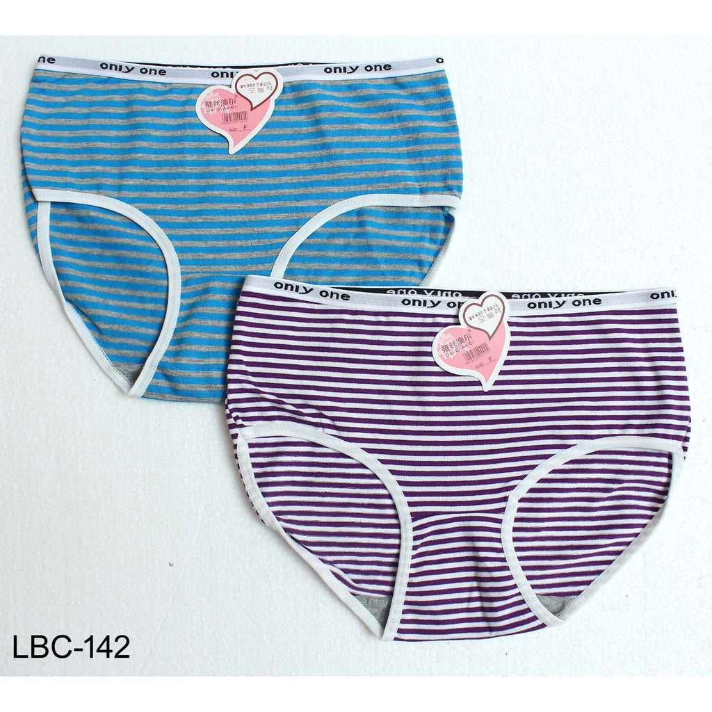 Only One Comfortable High waist Yarn Dyed Lining Panties for Girls & Women - Pack of 2