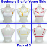 Beginners Bras - Cute Printed Comfortable Cotton Seamless Wire Free Vest Development Training Bra's/Teen Bra for Young Girl's - Pack of 3