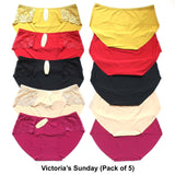 Victoria's Sunday Comfortable Lace High waist Panties for Girls & Women - Pack of 5
