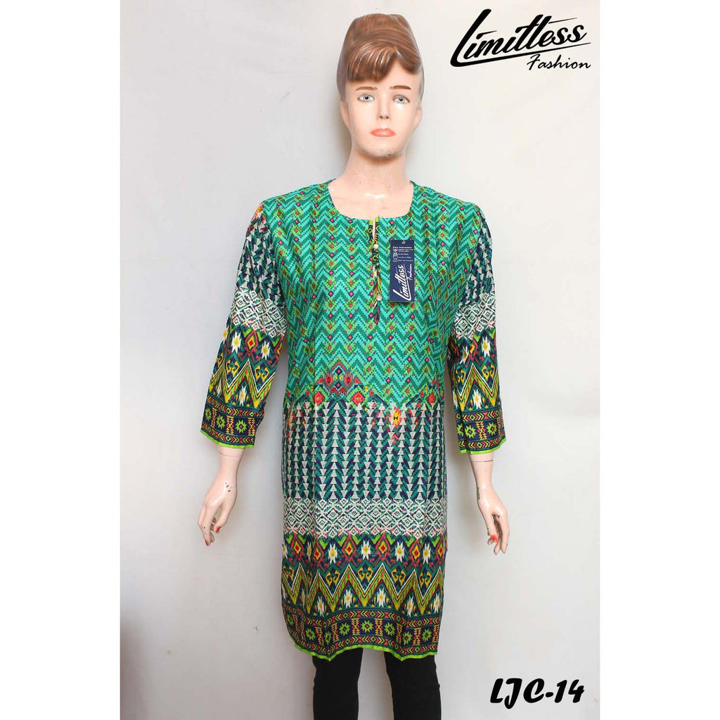 Limitless Fashion Printed Cotton Lawn Stitched Kurti for Girls & Women in Medium - LJC-14