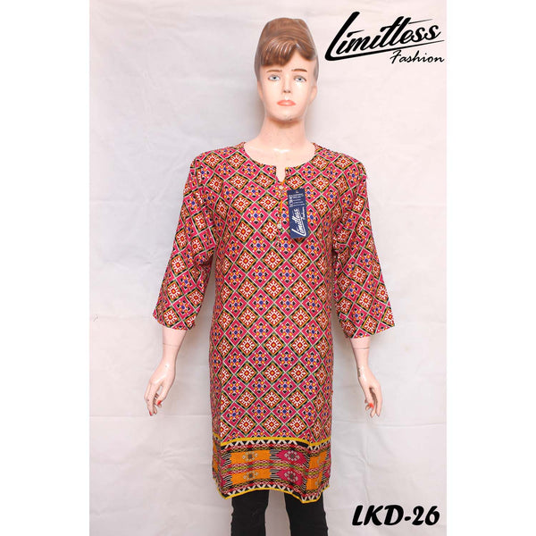New & Latest Printed Khaddar Stitched Kurti for Women in Medium - LKD-26
